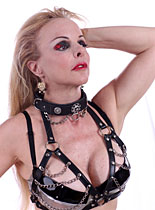 Chain drape collar and triangle Bra
